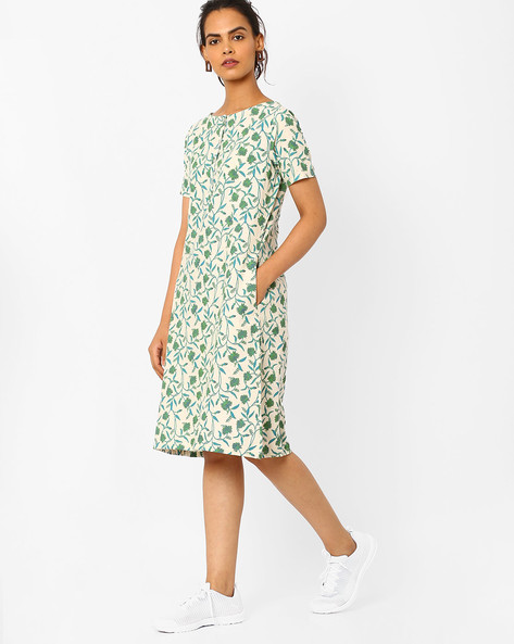 Printed A-line Dress With Pockets By Vajor ( Green )