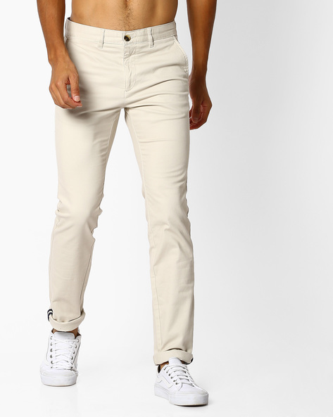 Flat-Front Chinos By NETPLAY ( Stone )