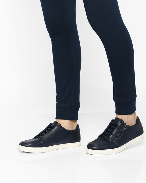 Low-Top Lace-Up Sneakers By AJIO ( Navy )