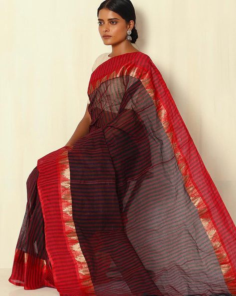 Handwoven Bengal Tant Stripe Cotton Saree With Woven Border By Indie Picks ( Red )