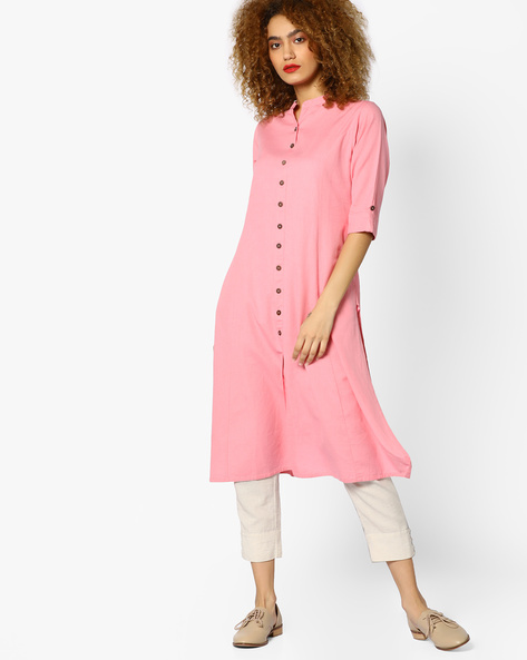 Straight Kurta With Front Slit By Shree ( Pink )