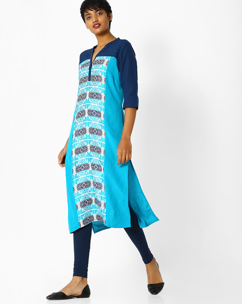 Woven Straight Kurta With Contrast Sleeves By AURELIA ( Black )