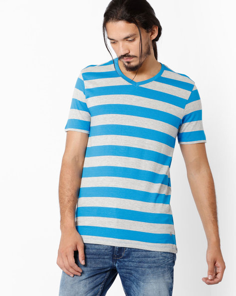 Striped V-neck Lounge T-shirt By Under Colors Of Benetton ( Blue )