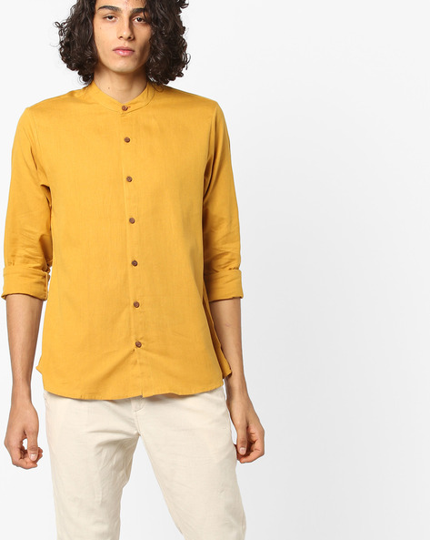 Cotton Shirt With Mandarin Collar By ANTIFERRO ( Mustard )