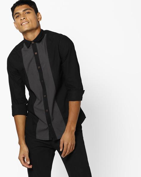 Cut & Sew Cotton Shirt With Mandarin Collar By AJIO ( Black )