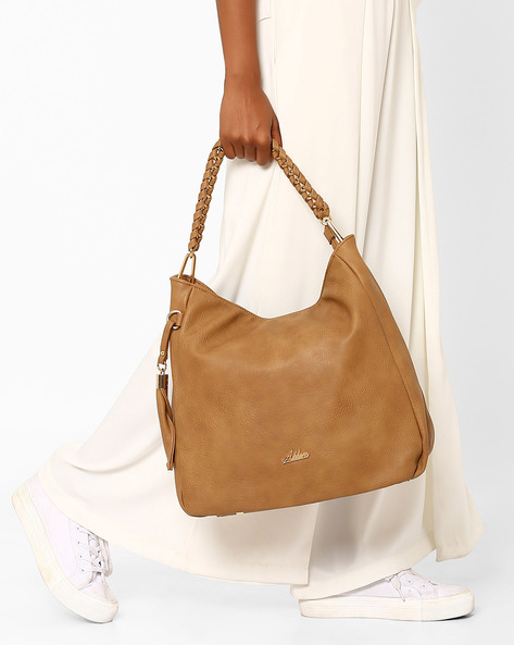Oversized Handbag With Tassel By Addons ( Brown )