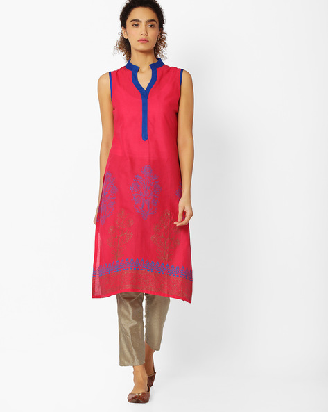 Straight Kurta With Mandarin Collar By Libas ( Pink )
