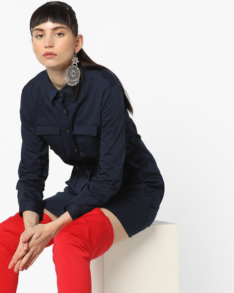 Shirt Dress With Flap Pockets By AJIO ( Navy )