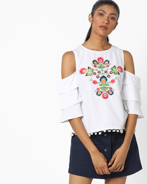 Cold-Shoulder Top With Floral Embroidery By AJIO ( White )