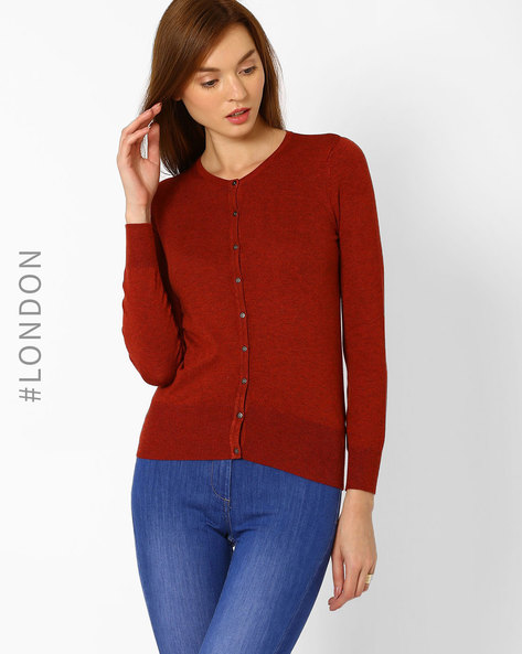 Buttoned-down Cardigan With Ribbed Hems By Marks & Spencer ( Rust )