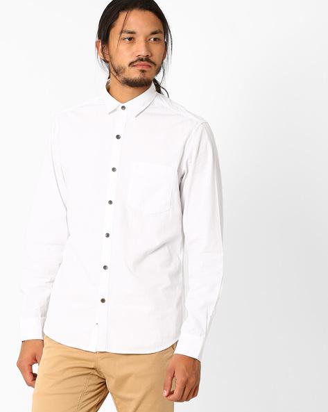 Slim Fit Poplin Shirt By JOHN PLAYERS ( White )
