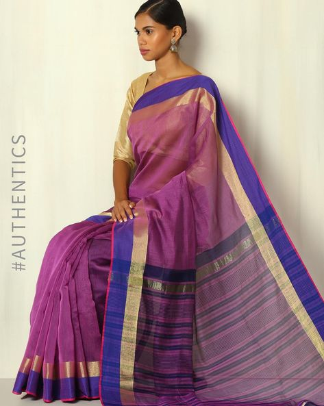 Handwoven Bengal Silk Cotton Saree With Zari Border By Indie Picks ( Magenta )