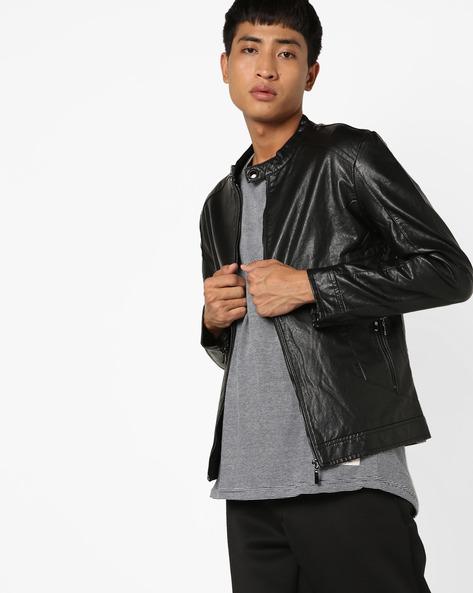 Slim Fit Biker Jacket By The Indian Garage Co ( Black ) - 460144900002
