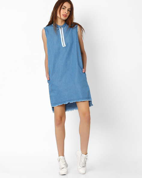 Sleeveless Denim Shift Dress By AJIO ( Blue )