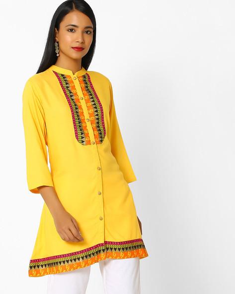 Mandarin Tunic With Printed Panels By Shree ( Yellow )