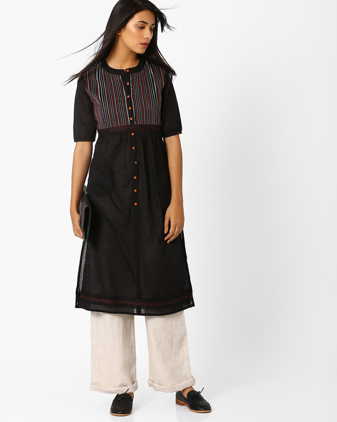 Straight Kurta With Button Placket By AJIO ( Black )