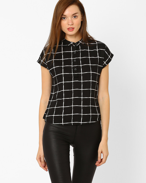 High-Low Checked Shirt With Mandarin Collar By DNM X ( Black )
