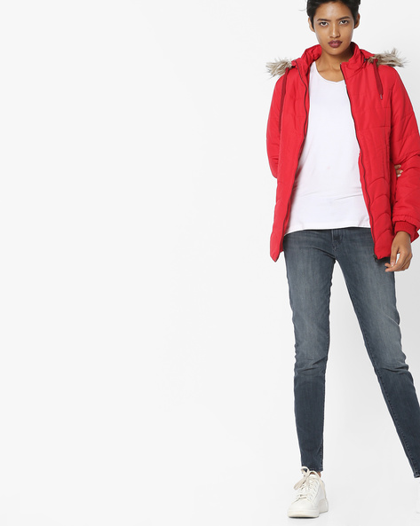 Hooded Quilted Jacket By Fort Collins ( Red ) - 460108313007