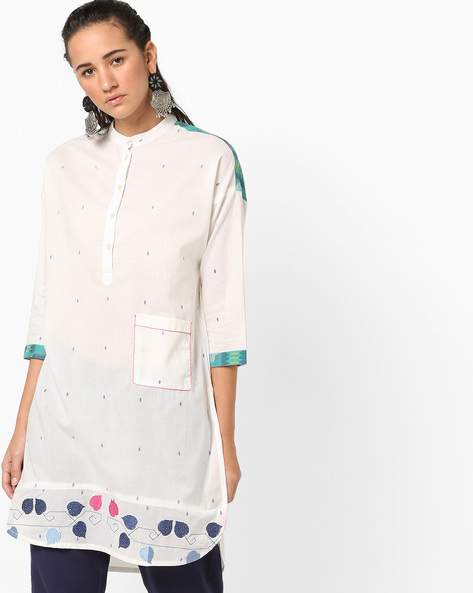 High-Low Kurta With Embroidery By AJIO ( White )