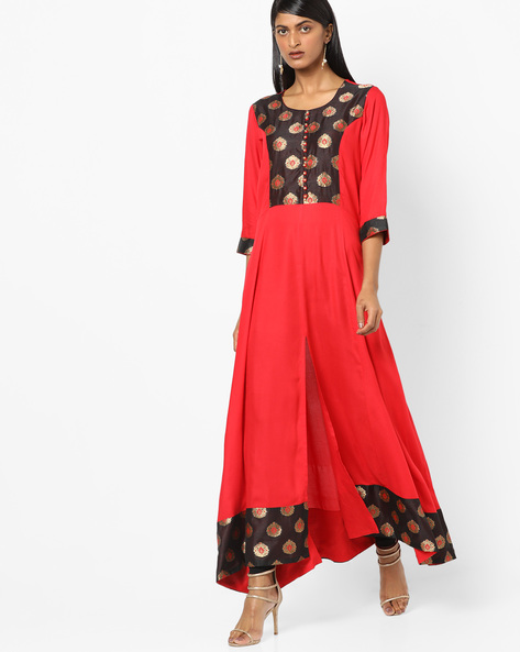 Printed A-line Kurta With Front-Slit Hem By Shree ( Red )