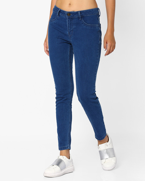 Mid-Rise Cotton Jeans By Ginger By Lifestyle ( Lightblue )