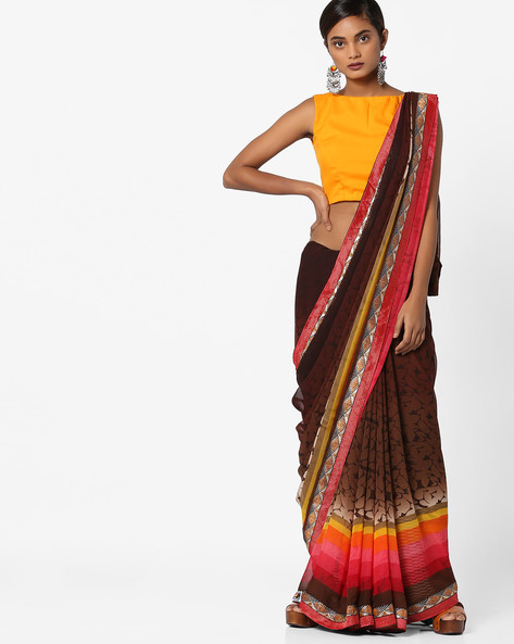 Printed Saree With Contrast Border By Shonaya ( Multicolour )