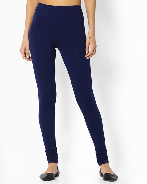 Leggings With Elasticated Waistband By Melange By Lifestyle ( Navy )