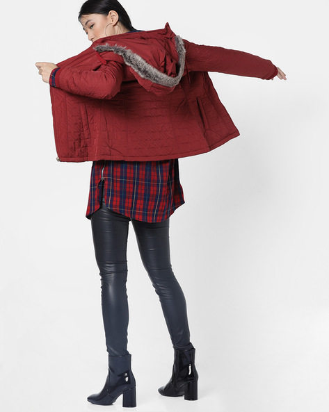 Hooded Quilted Jacket By Fort Collins ( Maroon )