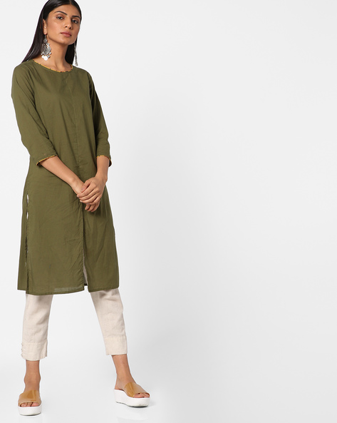 Tunic With Front Slit By AJIO ( Olive )