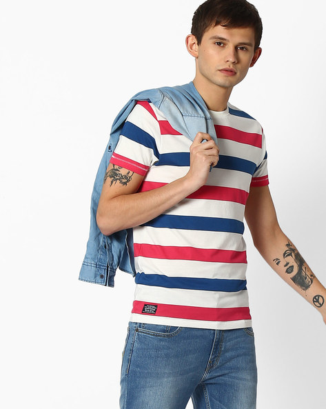 Slim Fit Striped T-shirt By Pepe Jeans ( Pink )