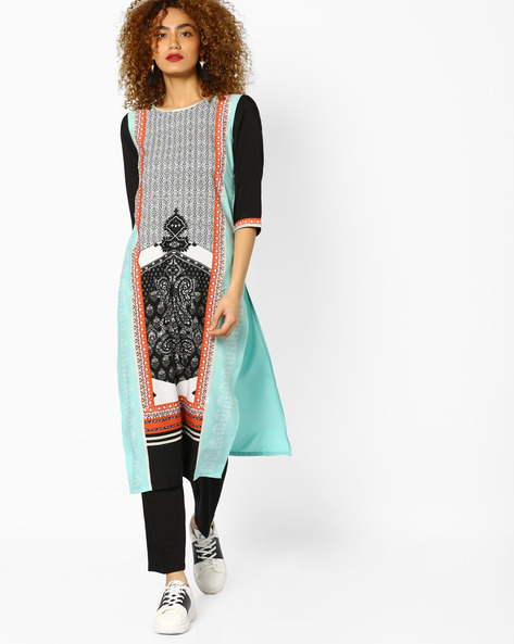 Printed Straight Kurta With Contrast Sleeves By W ( Blue )