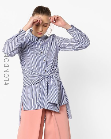 Striped Shirt With Waist Tie-Up By Closet London ( Blue )