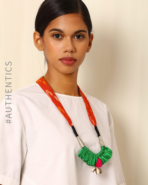 Handcrafted Designer Ruffle Necklace With Shell Tassels By Addoz ( Multi ) - 460067942001