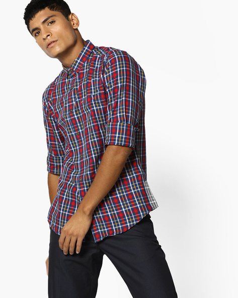 Checked Cotton Shirt With Patch Pocket By The Indian Garage Co ( Ink )