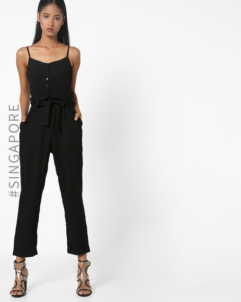 Strappy Jumpsuit With Waist Tie-Up By MDS ( Black )