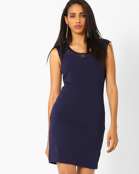 Bodycon Dress With Sweetheart Neckline By AJIO ( Navyblue )