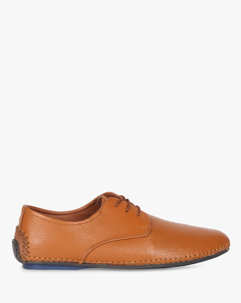 Genuine Leather Lace-Up Casual Shoes By Buckle Up ( Tan )
