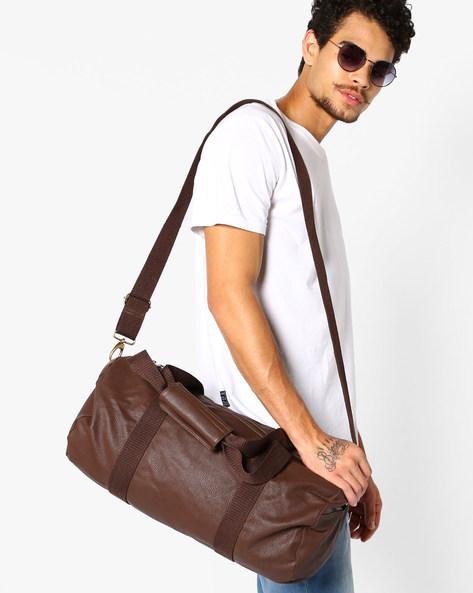 Duffel Bag With Flat Handles By AJIO ( Brown )