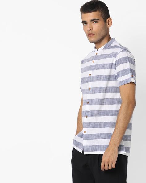 Striped Shirt With Mandarin Collar By AJIO ( White )