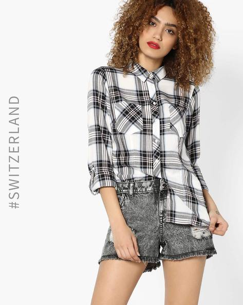 Checked Shirt With Patch Pockets By TALLY WEiJL ( Offwhite )