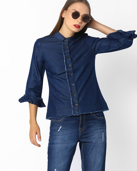 Denim Shirt With Ruffle Sleeves By AJIO ( Blue )