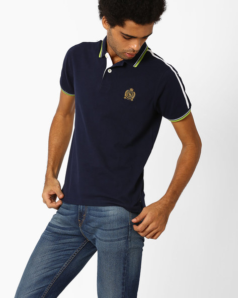 Polo T-shirt With Contrast Taping By TEAM SPIRIT ( Navy )