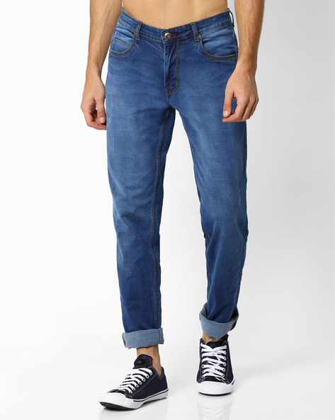 Lightly Washed Tapered Fit Jeans By DNM X ( Mediumblue )