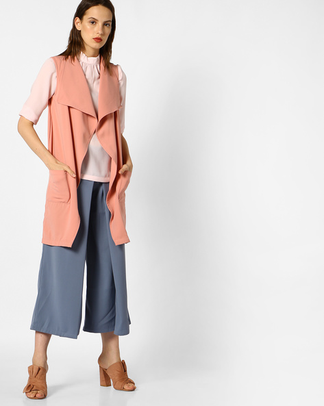 Open-Front Jacket With Notched Lapel By AJIO ( Pink )
