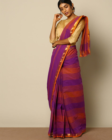 South Cotton Checked Saree With Zari Border By Indie Picks ( Purple )