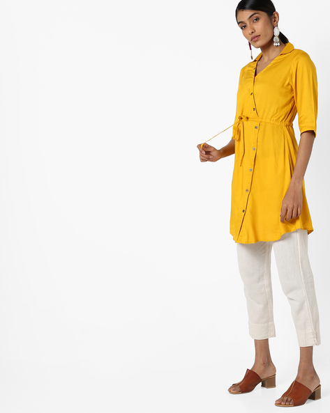 Shirt Tunic With Front Tie-up By AYAANY ( Mustard )