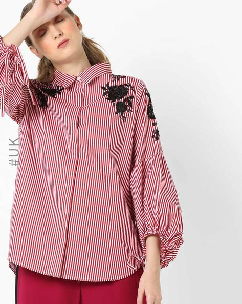 Striped Shirt With Floral Embroidery By NEON ROSE ( Red )