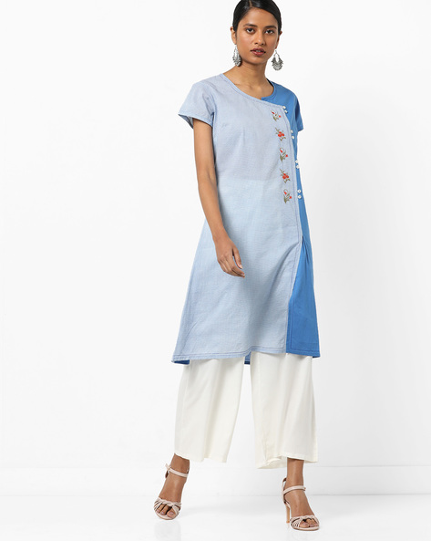 Panelled Straight Kurta With Floral Embroidery By AJIO ( Indigo )