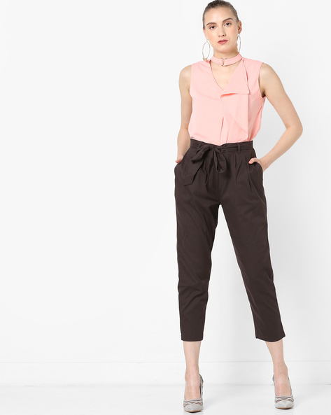 Mid-Rise Cropped Trousers With Waist Tie-Up By AJIO ( Brown )