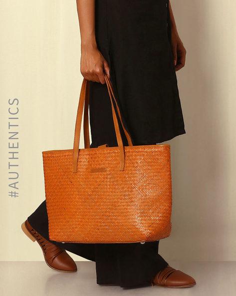 Handcrafted Natural Fibre Tote Bag By Indie Picks ( Orange )